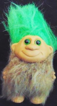 Troll Doll Caveman Dressed In Black And White Spotted Fur Blue Hair Eyes 6 Inches