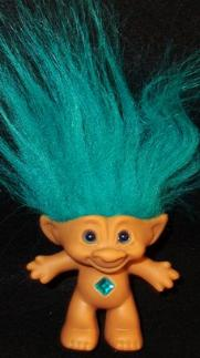 Ace Treasure Troll Turquoise Hair Blue Eyes And Round Jewel Bellyon 4 Inches 11 99